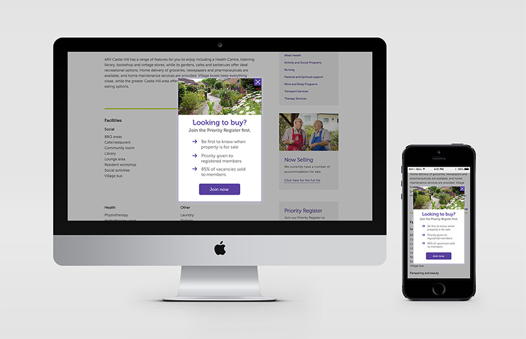 Anglican Retirement Villages site on devices